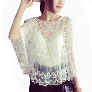 Summer Sheer Floral Embroidery Shirt - J20Style - 1