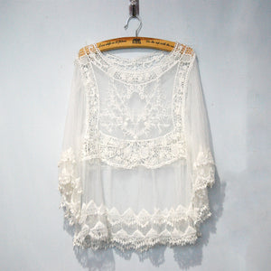 Summer Sheer Floral Embroidery Shirt - J20Style - 6