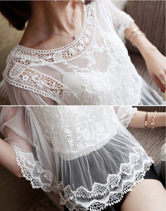 Summer Sheer Floral Embroidery Shirt - J20Style - 3