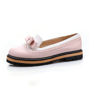 Mixed Color Lace Shallow Mouth PU Soft Leather Miss Shoes