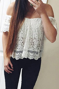 Summer Off Shoulder Lace Chiffon Shirt - J20Style - 2