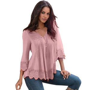 Solid Sexy V Neck Long Sleeve Lace Crochet Tops