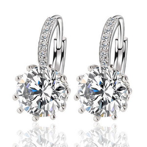 Alloy Silver Plated Crystal Earring - J20Style - 10