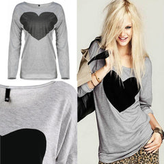 Cute Heart Printed Round-Neck Top - J20Style - 2