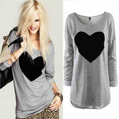 Cute Heart Printed Round-Neck Top - J20Style - 1