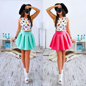 Summer Beach Sleeveless Two Piece Party Short Mini Dress