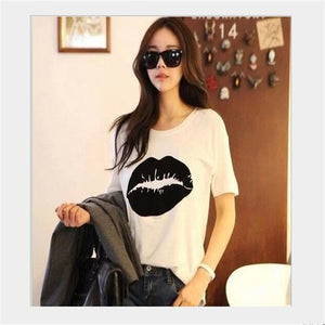 Summer Lips Printed Short Sleeve T-Shirt - J20Style - 1