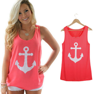 Summer Anchor Printed Sleeveless Tops - J20Style - 1