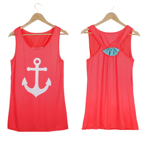 Summer Anchor Printed Sleeveless Tops - J20Style - 2