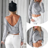 Casual Long Sleeve Backless T-Shirt - J20Style - 1