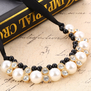 Black Rope Chain Pearls Beads Crystal Collar Choker Necklace