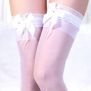 Bow Lace Over Kneee Tights - J20Style - 6