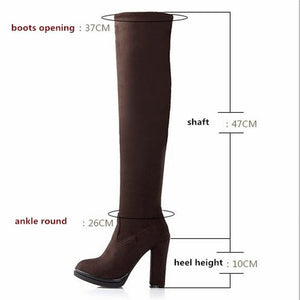 Flock High Thick Heels Platform Round Toe Riding Boots