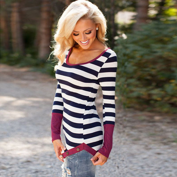 Casual Long Sleeve Striped T-Shirt - J20Style