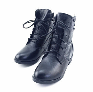 Plush Winter Fur Rubber Genuine Leather Lace Up Boot