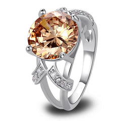 Champagne Morganite Silver Ring - J20Style