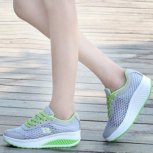 Swing Breathable Gauze Platform Elevator Shoes