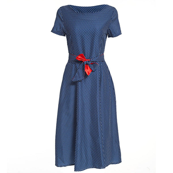 O-Neck Knee-Length Sashes Dot Dress