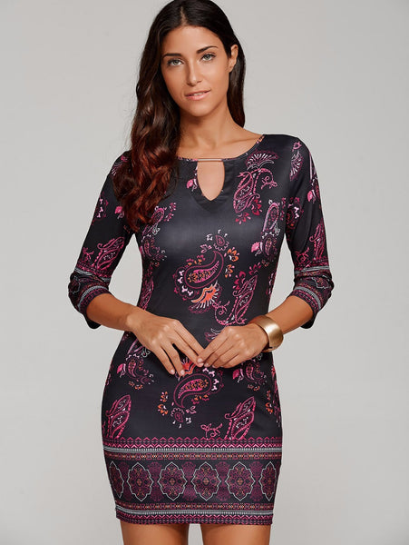 Printed Keyhole Neck Bandage Bodycon Sheath Mid Dress