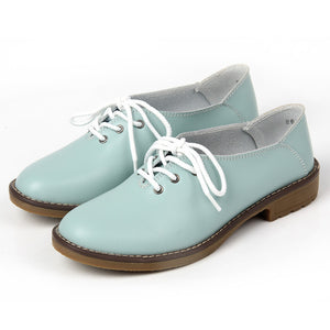 Genuine Leather Oxford Shoes Women Flats