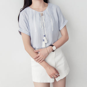 Summer Chiching Embroidery Short Sleeve Blouse - J20Style - 3