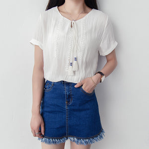 Summer Chiching Embroidery Short Sleeve Blouse - J20Style - 5
