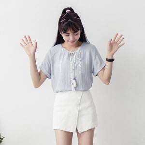 Summer Chiching Embroidery Short Sleeve Blouse - J20Style - 2