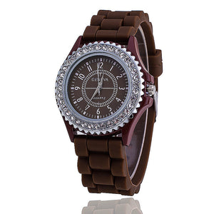 Hot Silicone Rhinestone GENEVA Watch