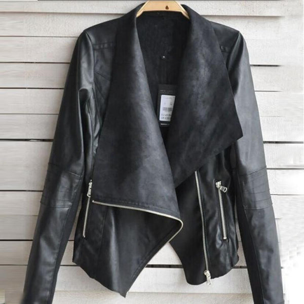 Biker Zipper Leather Coat - J20Style