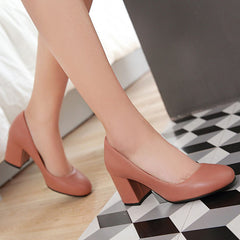 Casual Shallow Thick High Heel Pumps