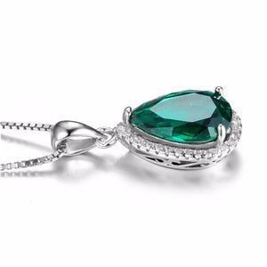 Pear 6ct Russian Nano Created Emerald Necklace