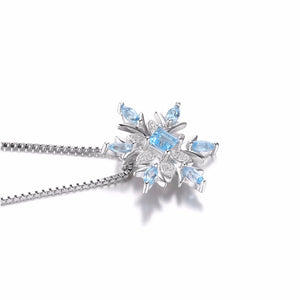 Snowflake Genuine Blue Topaz Solid Pendant Necklace