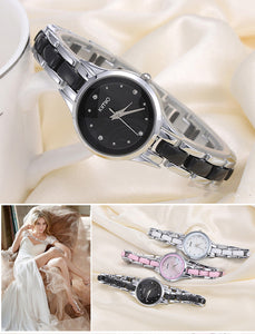 Diamond Hours Full Steel Silver Dress Bracelet Quartz WristWatch