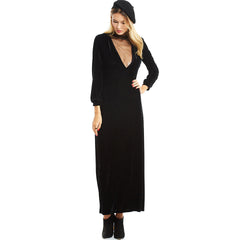 Deep V Lantern Long Sleeve Party Velvet Dress