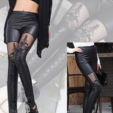 Faux Leather Stretchy Slim Leggings - J20Style - 2