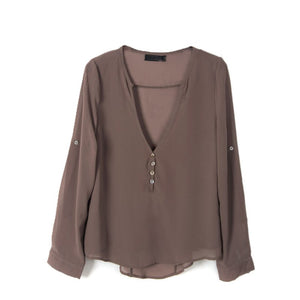 Long Sleeve Chiffon V-Neck Shirt - J20Style - 4