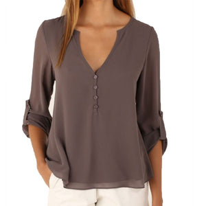 Long Sleeve Chiffon V-Neck Shirt - J20Style - 1