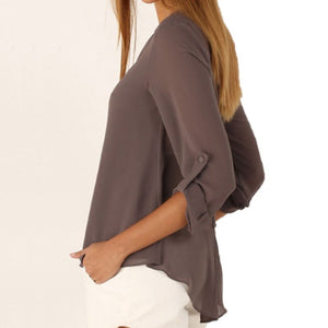 Long Sleeve Chiffon V-Neck Shirt - J20Style - 3
