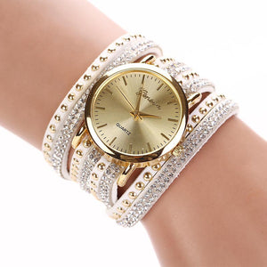 Crystal Rivet Bracelet Quartz Braided Winding Wrap Dress Wrist Watch