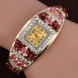 Crystal Bracelet Classic Flower Square Wristwatch