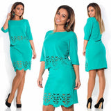 Elegant Sexy 2 Piece Set L-6xl O-neck Bodycon Dress