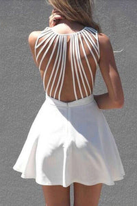Pleated A Line Strappy Back Mini Dress - J20Style - 2