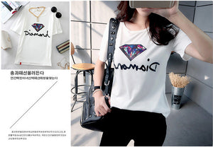 Sparkling Diamond O-Neck Short Sleeve Top - J20Style - 2