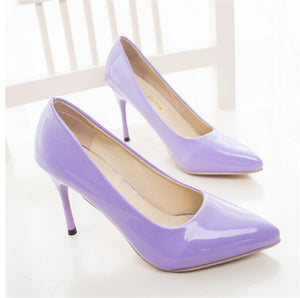 PU Leather Pointed Toe High Heels - J20Style - 1