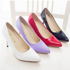PU Leather Pointed Toe High Heels - J20Style - 2