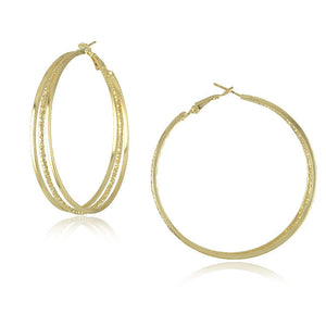 Gold Plated Big Hoop Earrings - J20Style - 9