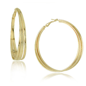 Gold Plated Big Hoop Earrings - J20Style - 12