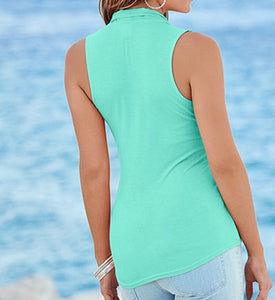 Summer V-Neck Sleeveless Chiffon Blouse - J20Style - 4