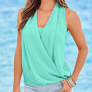 Summer V-Neck Sleeveless Chiffon Blouse - J20Style - 1