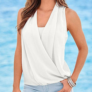Summer V-Neck Sleeveless Chiffon Blouse - J20Style - 3